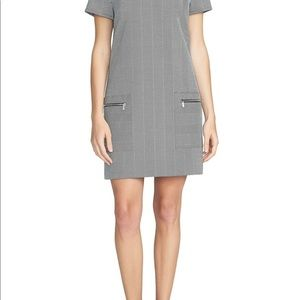 1.State Herringbone Print V-Neck Shift Dress